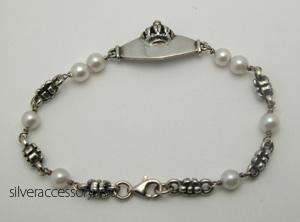 真珠のシルバーブレスレット